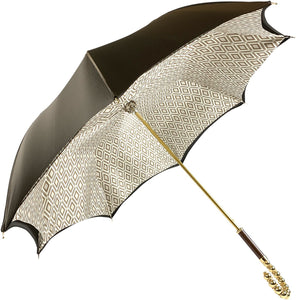 Brown Umbrella With Rhombus Pattern Inside - IL MARCHESATO LUXURY UMBRELLAS, CANES AND SHOEHORNS