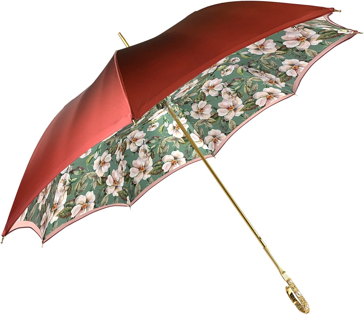 Nice And Elegant Flowered Umbrella - IL MARCHESATO LUXURY UMBRELLAS, CANES AND SHOEHORNS