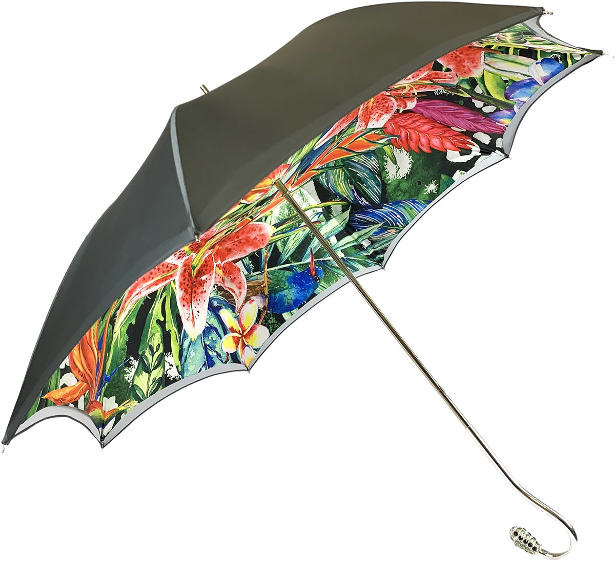 Grey Umbrella With Floral Print Interior - Exclusive Pattern - IL MARCHESATO LUXURY UMBRELLAS, CANES AND SHOEHORNS