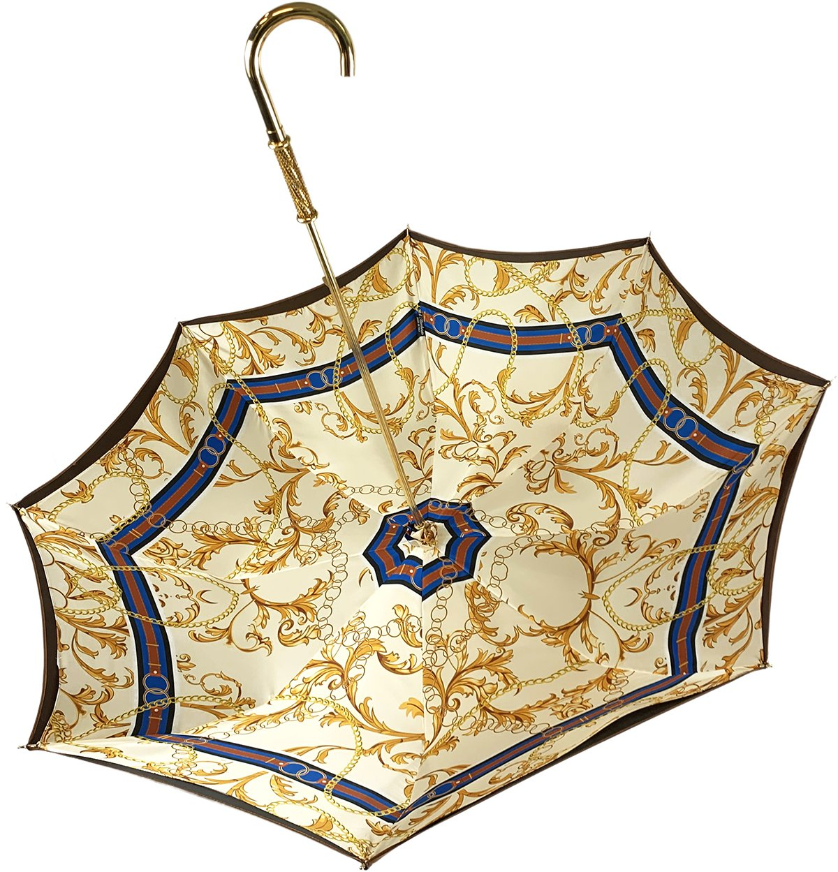 Superb Bronze Color Umbrella With Chains Pattern - IL MARCHESATO LUXURY UMBRELLAS, CANES AND SHOEHORNS