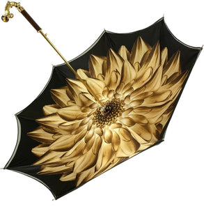 Double Cloth Gold Shaded Dahlia Umbrella - IL MARCHESATO LUXURY UMBRELLAS, CANES AND SHOEHORNS
