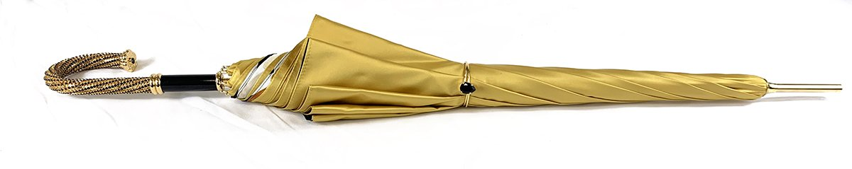 Umbrella In Fantastic Double Yellow Gold Cloth - IL MARCHESATO LUXURY UMBRELLAS, CANES AND SHOEHORNS