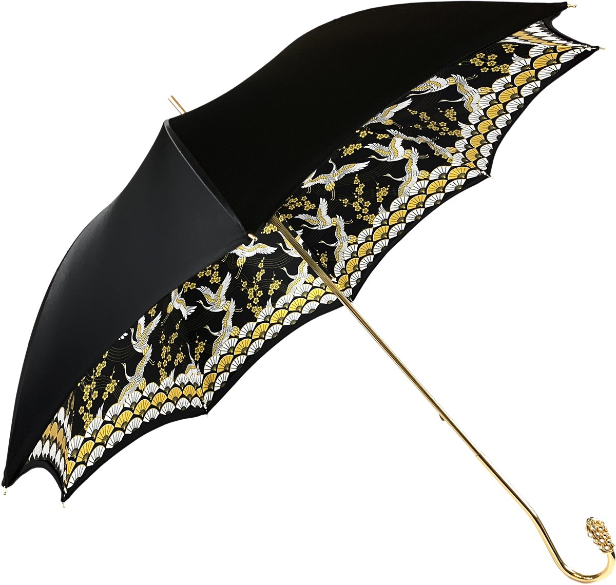 Elegant Internally Herons Print Umbrella, Double Cloth - IL MARCHESATO LUXURY UMBRELLAS, CANES AND SHOEHORNS