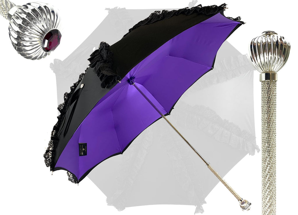 "Limited collection - umbrella with Black lace - exclusive ""ilMarchesato"" - IL MARCHESATO LUXURY UMBRELLAS, CANES AND SHOEHORNS"