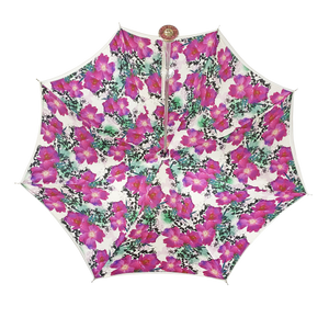 Silvered Umbrella with Anemones and Fuchsia Crystals