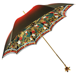 Load image into Gallery viewer, Marvelous Green and Red Umbrella with Goldplated flower