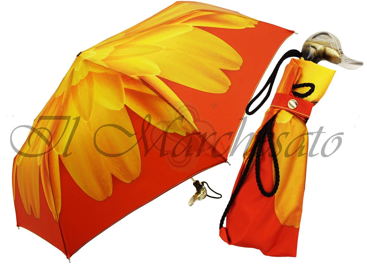 Flowered Women's Folding Umbrella with Duck Handle - il-marchesato
