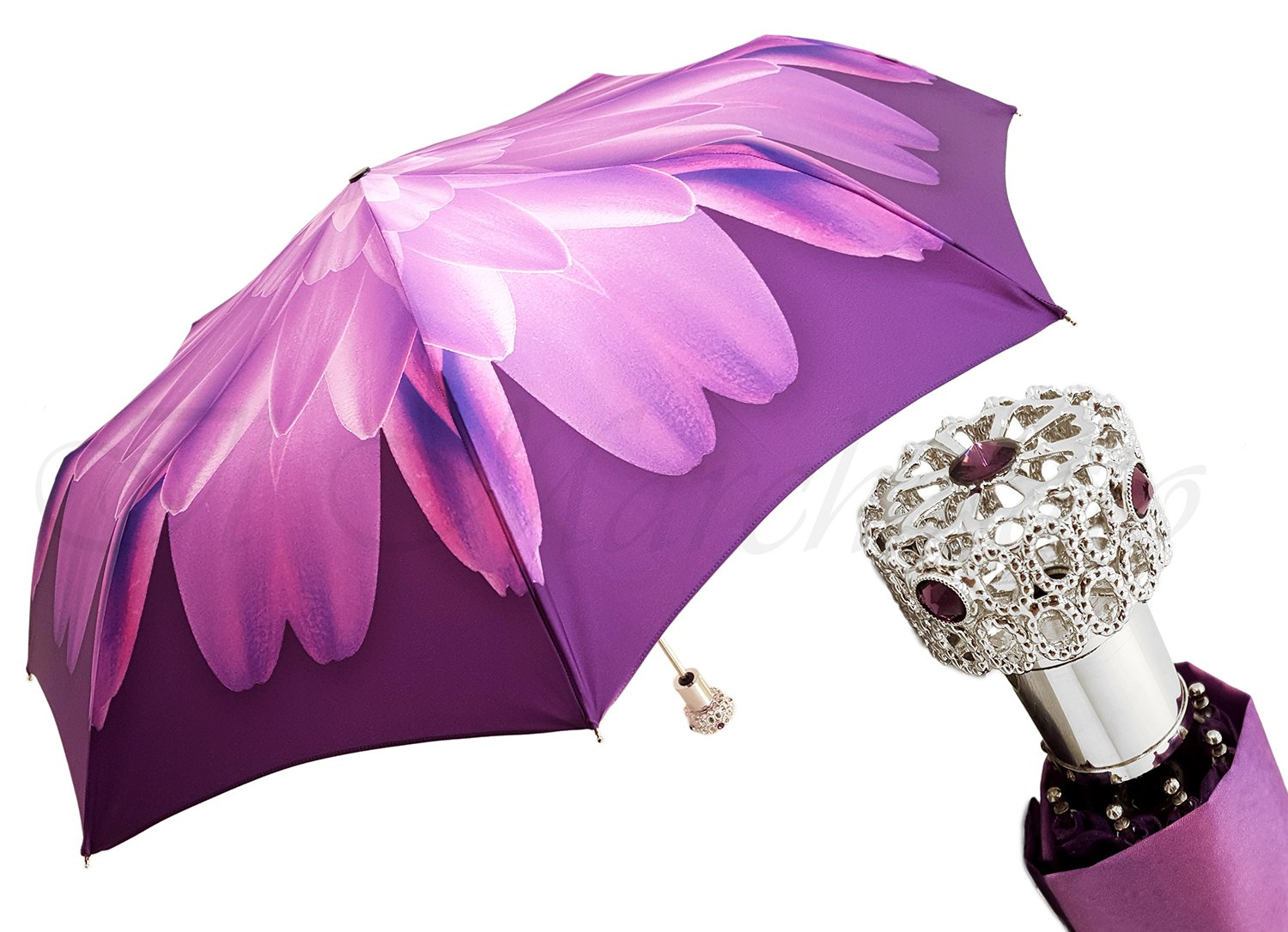 Lilac Flower Ladies Folding Umbrella with Silver-Plated Handle - il-marchesato