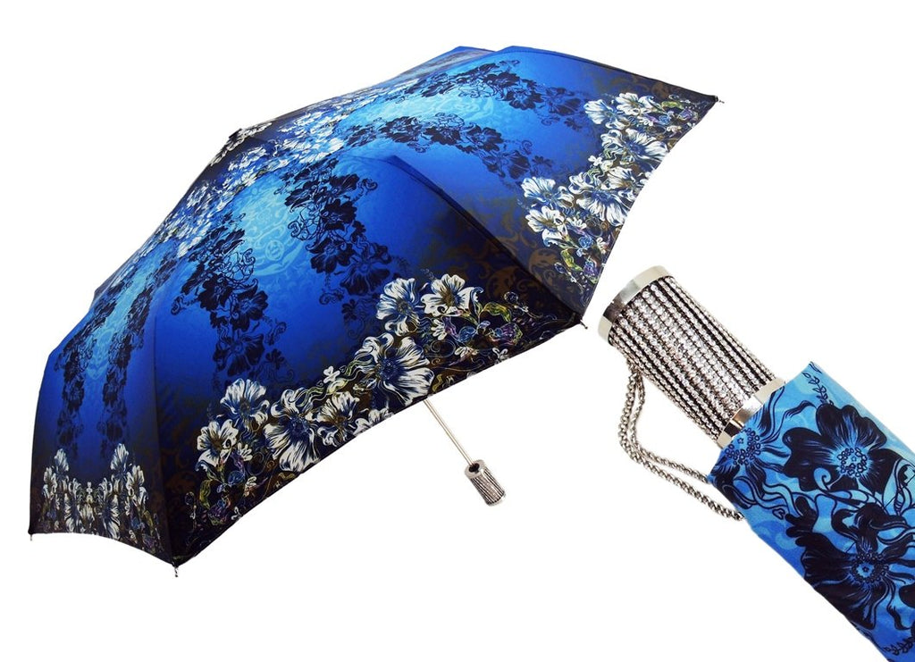 il Marchesato Women's Folding Umbrella Exclusive Blue Flowered Design - il-marchesato