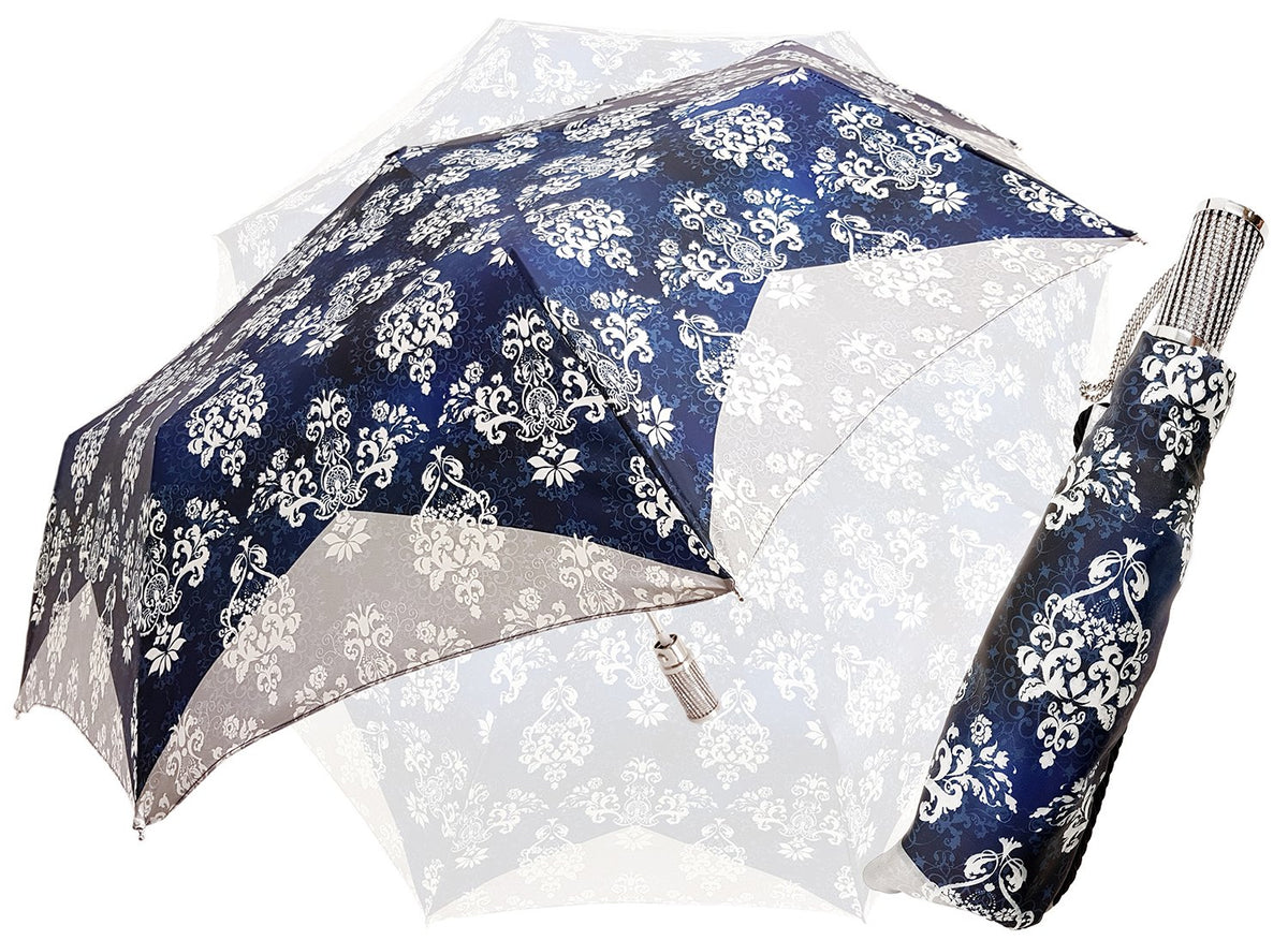 Blue & Grey Women's Folding Umbrella - il-marchesato