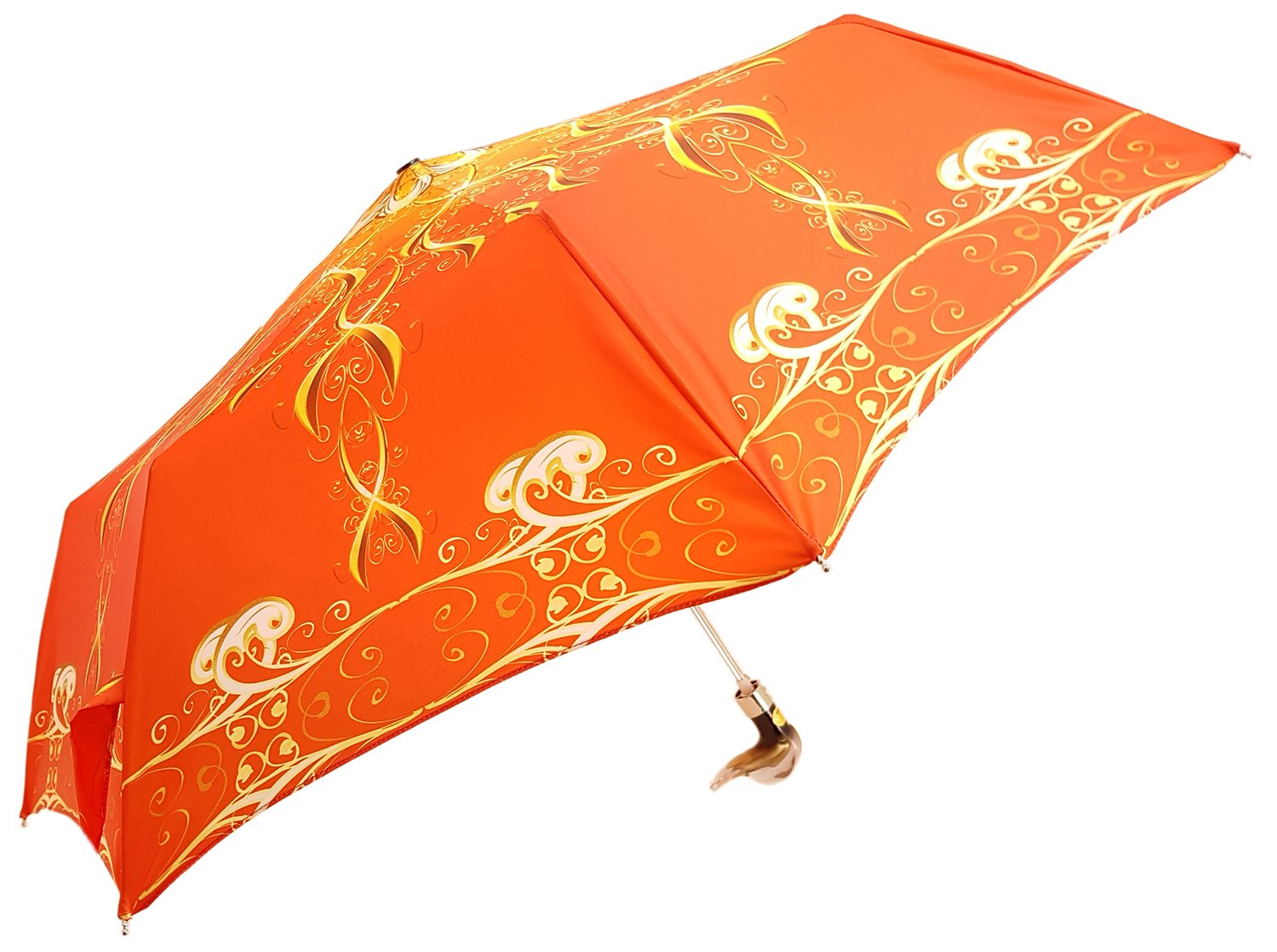 il Marchesato Exclusive Orange Abstract Design, Women's Folding Umbrella - il-marchesato