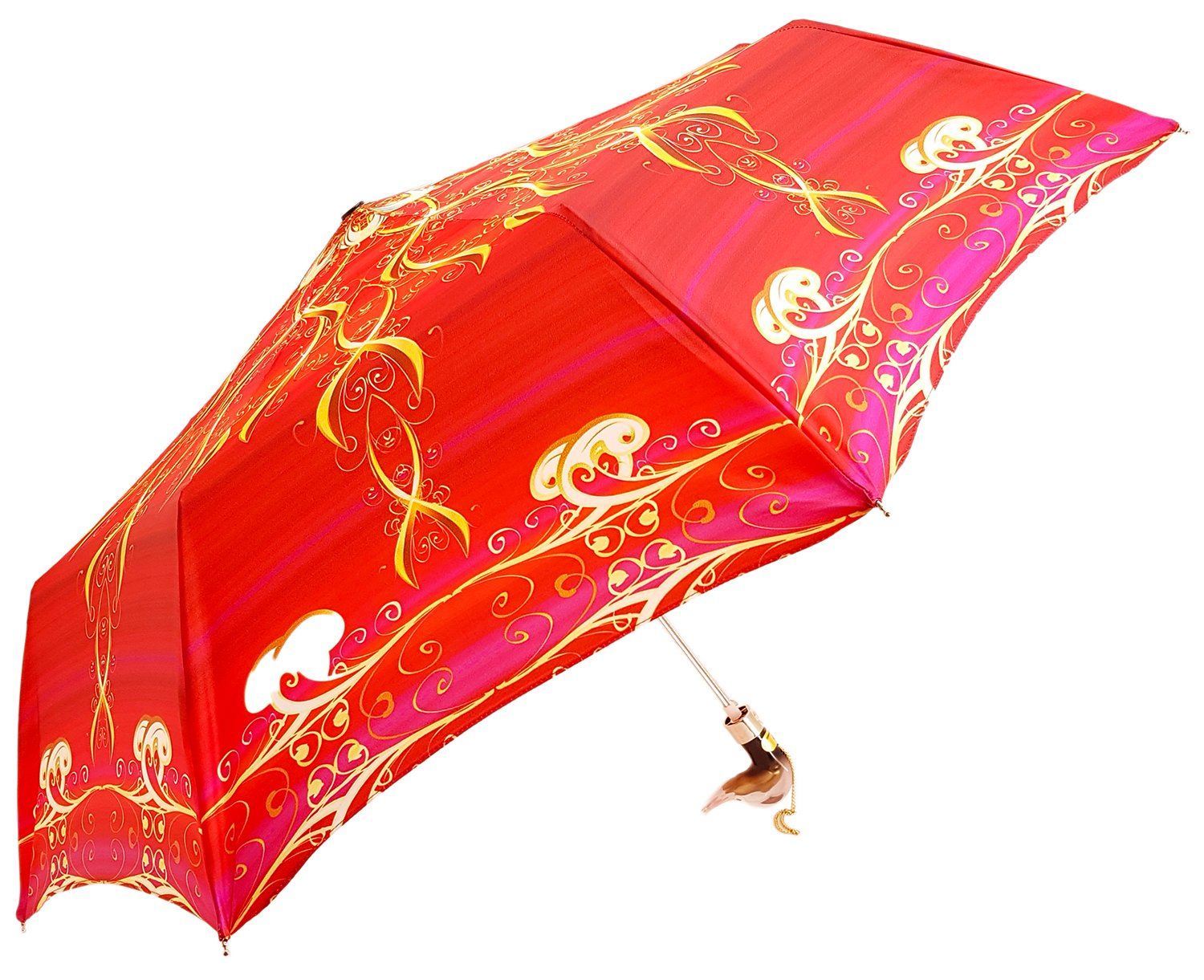 il Marchesato Exclusive Red Abstract Design, Women's Folding Umbrella - il-marchesato
