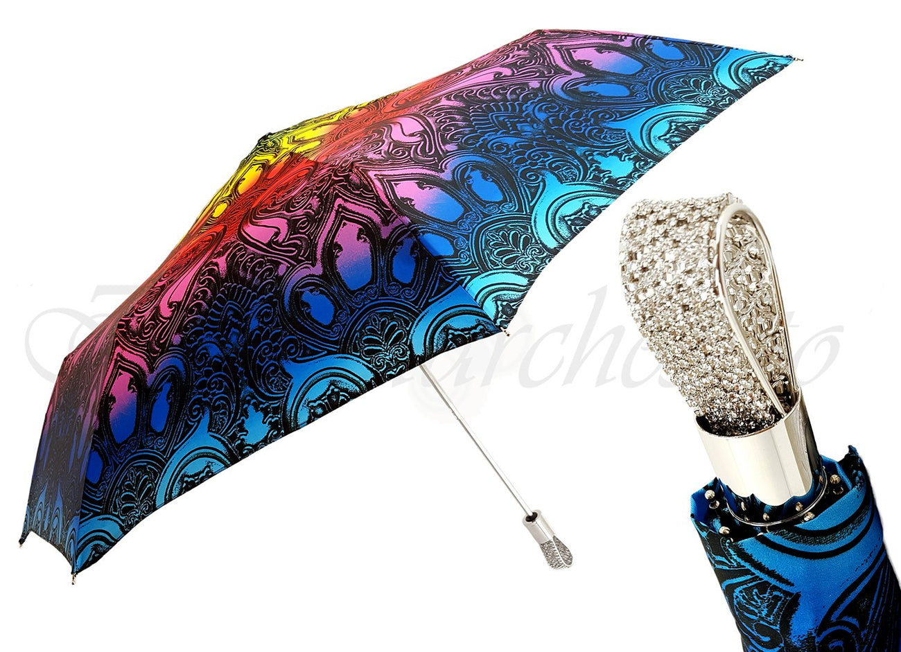 WOMEN'S FOLDING SWAROVSKI CRISTALS UMBRELLA