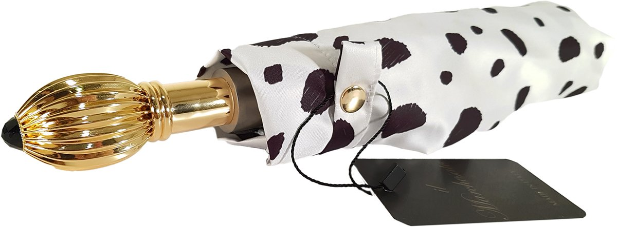 BLACK AND WHITE SPOTTED COMPACT UMBRELLA