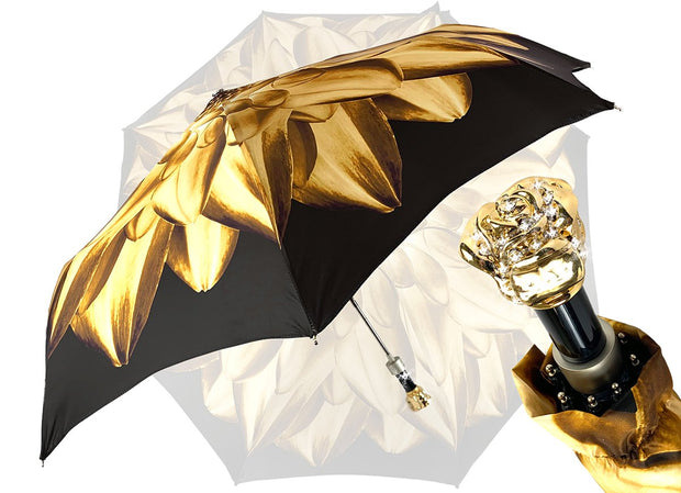 Gold And Brown Dahlia Folding Umbrella