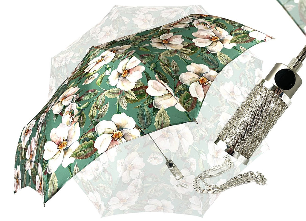 il Marchesato Ladies Folding Umbrella - Exclusive Floral Design - IL MARCHESATO LUXURY UMBRELLAS, CANES AND SHOEHORNS
