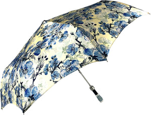 Lovely Folding Umbrella With Blue Poppies Design - IL MARCHESATO LUXURY UMBRELLAS, CANES AND SHOEHORNS