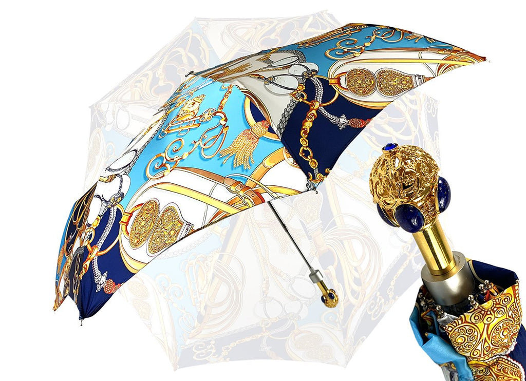 marchesato blue gold chain umbrella