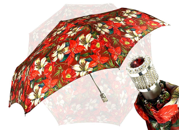 LUXURY FOLDING RED  FLOWERED UMBRELLA