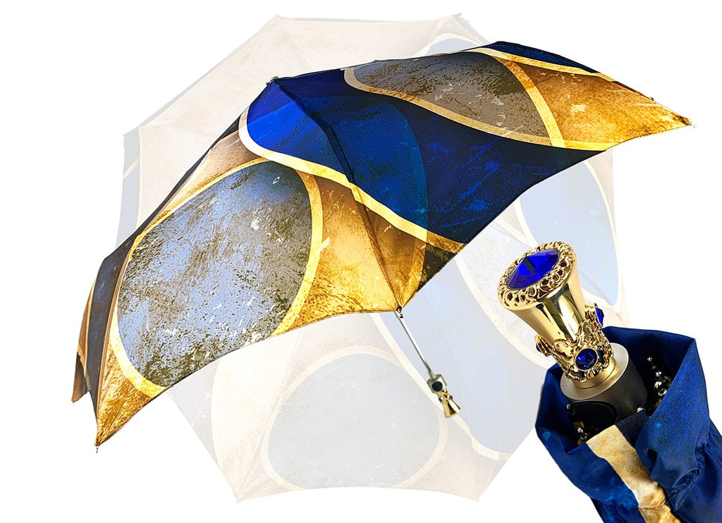 mini folding umbrella blue Swarovski stone