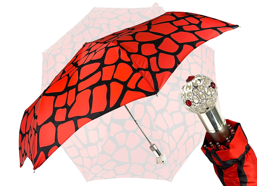 automatic folding red and black umbrella