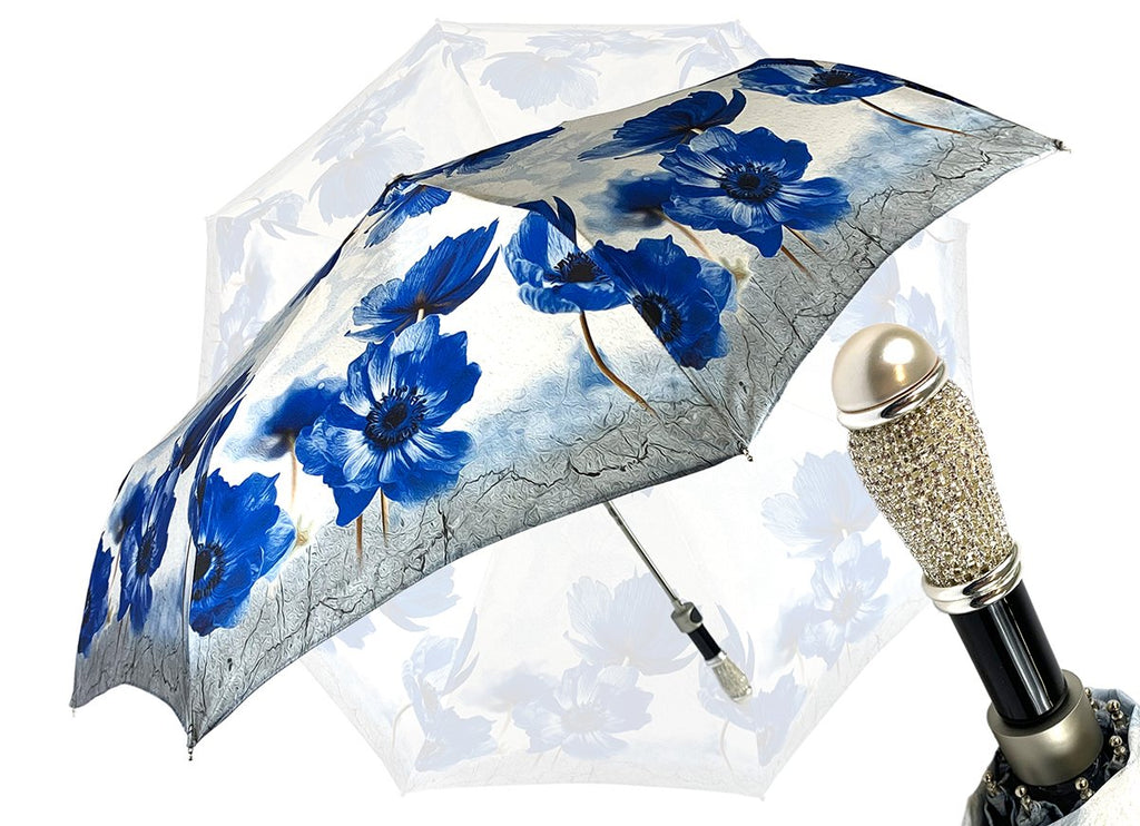 AUTOMATIC OPENING FLORAL BLUE UMBRELLA