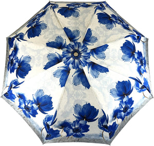 Beautiful Folding Umbrella With Blue Poppies - IL MARCHESATO LUXURY UMBRELLAS, CANES AND SHOEHORNS