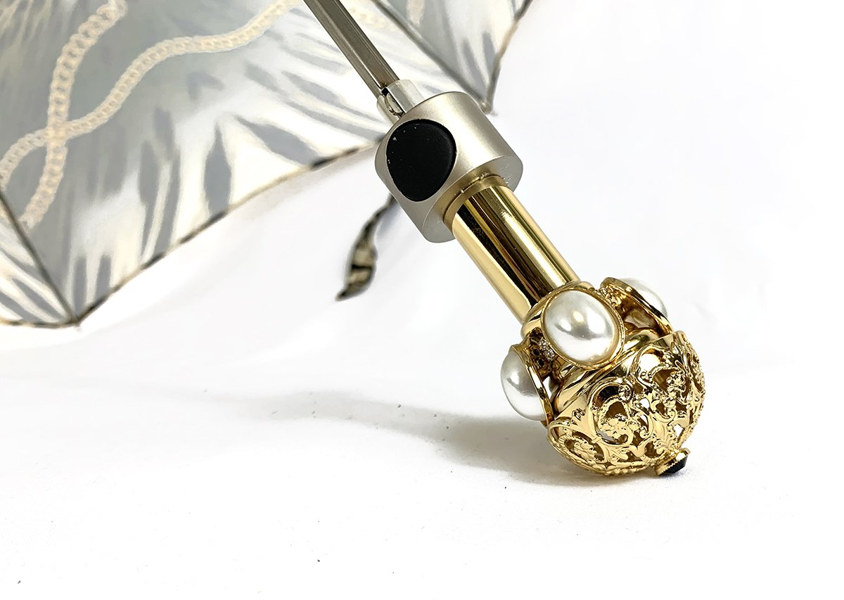 Leoparded Folding Umbrella With Chains - IL MARCHESATO LUXURY UMBRELLAS, CANES AND SHOEHORNS