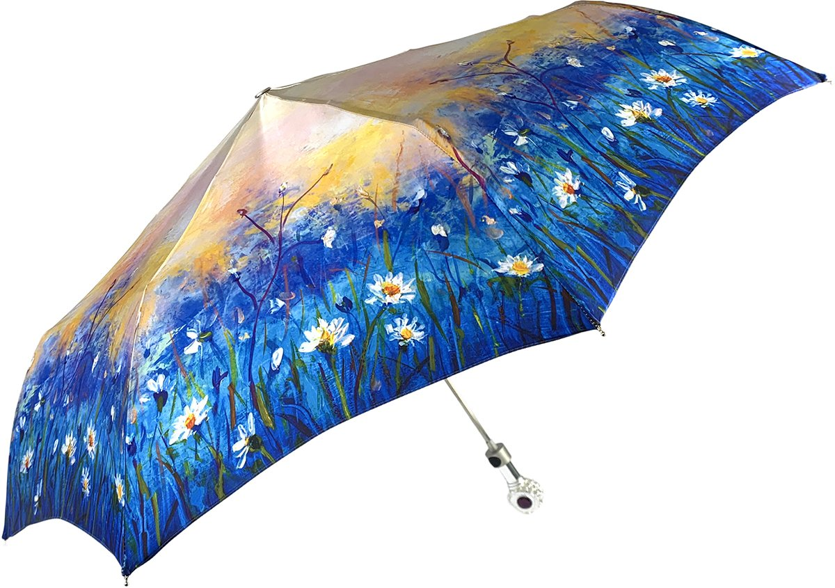 Women's Folding Umbrella - New Exclusive Daisies Design - IL MARCHESATO LUXURY UMBRELLAS, CANES AND SHOEHORNS