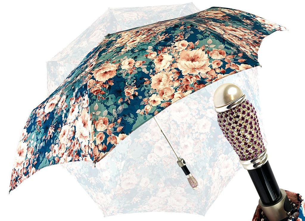 Beautiful floral umbrella with Swarovski rhinestones