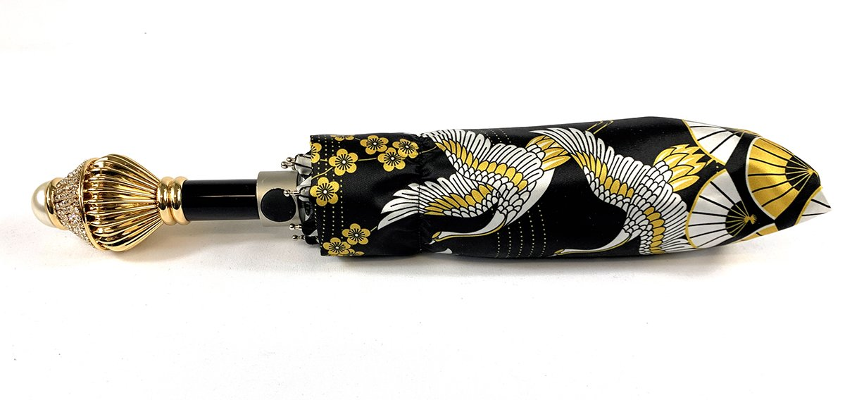 Women's Folding Umbrella - Wonderful Heron Design - IL MARCHESATO LUXURY UMBRELLAS, CANES AND SHOEHORNS