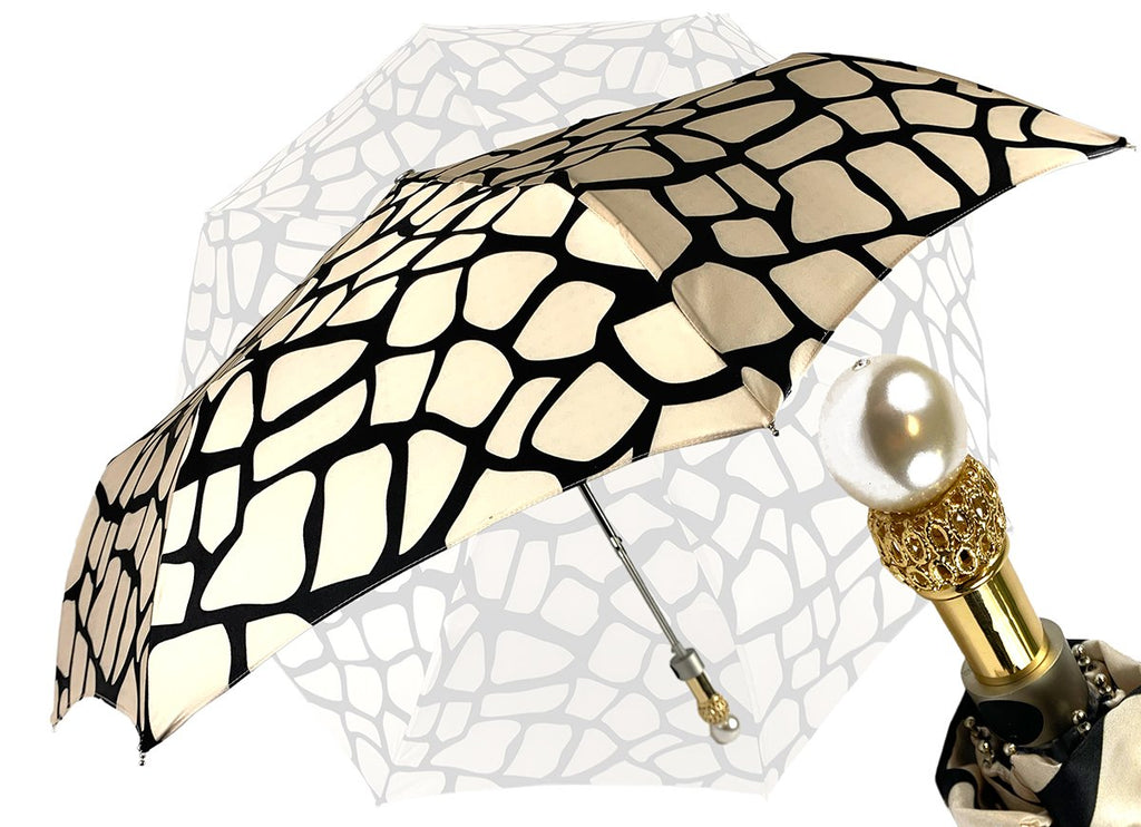 marchesato black and cream folding umbrella