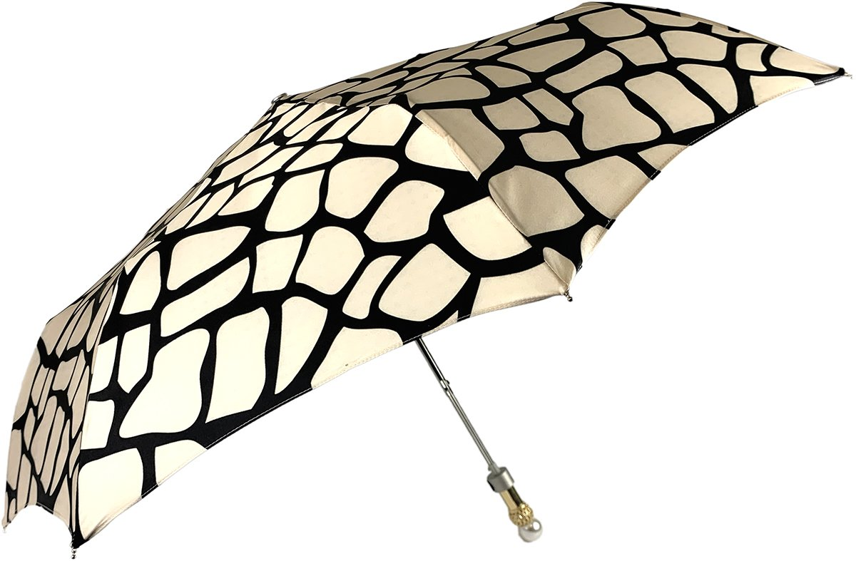 Black & Cream Folding Umbrella - IL MARCHESATO LUXURY UMBRELLAS, CANES AND SHOEHORNS