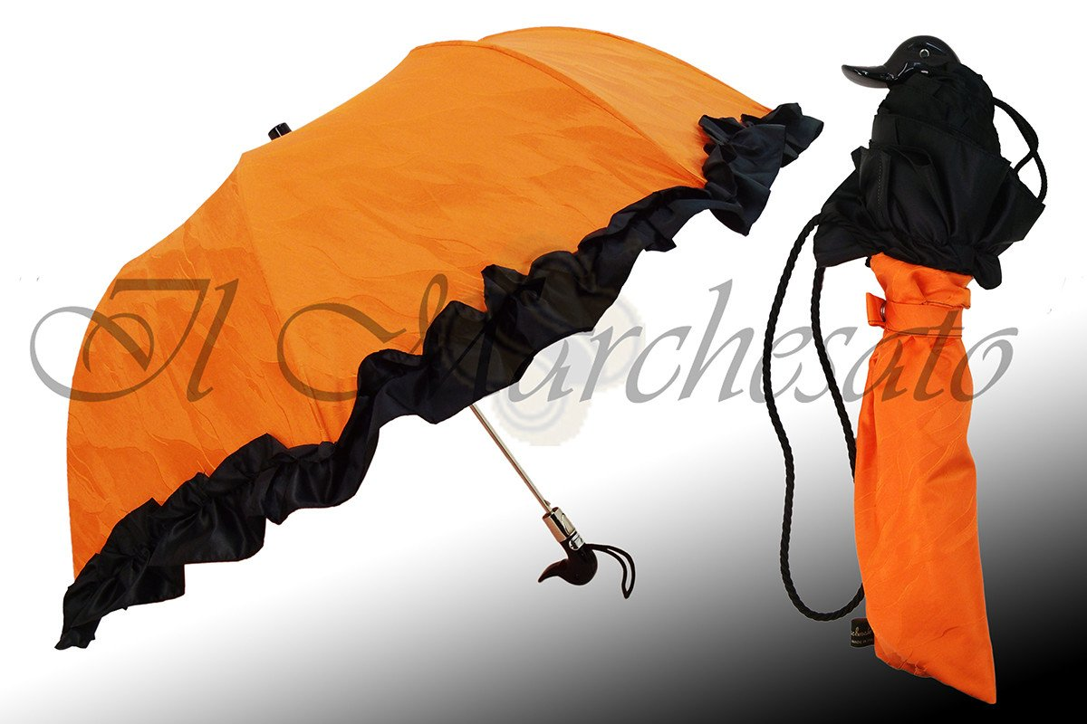 Folding Orange Umbrella with Black Ruffle - il-marchesato