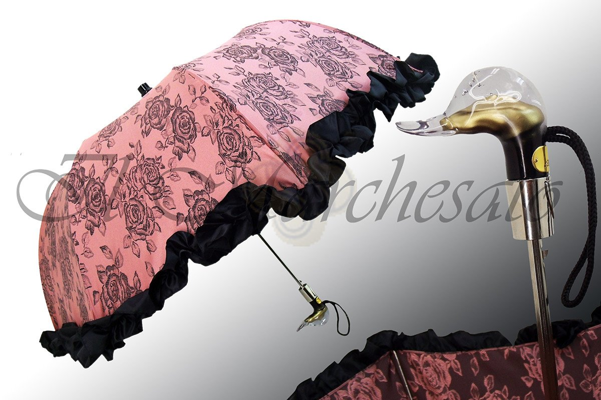 Folding Pink Umbrella with Black Ruffle - il-marchesato