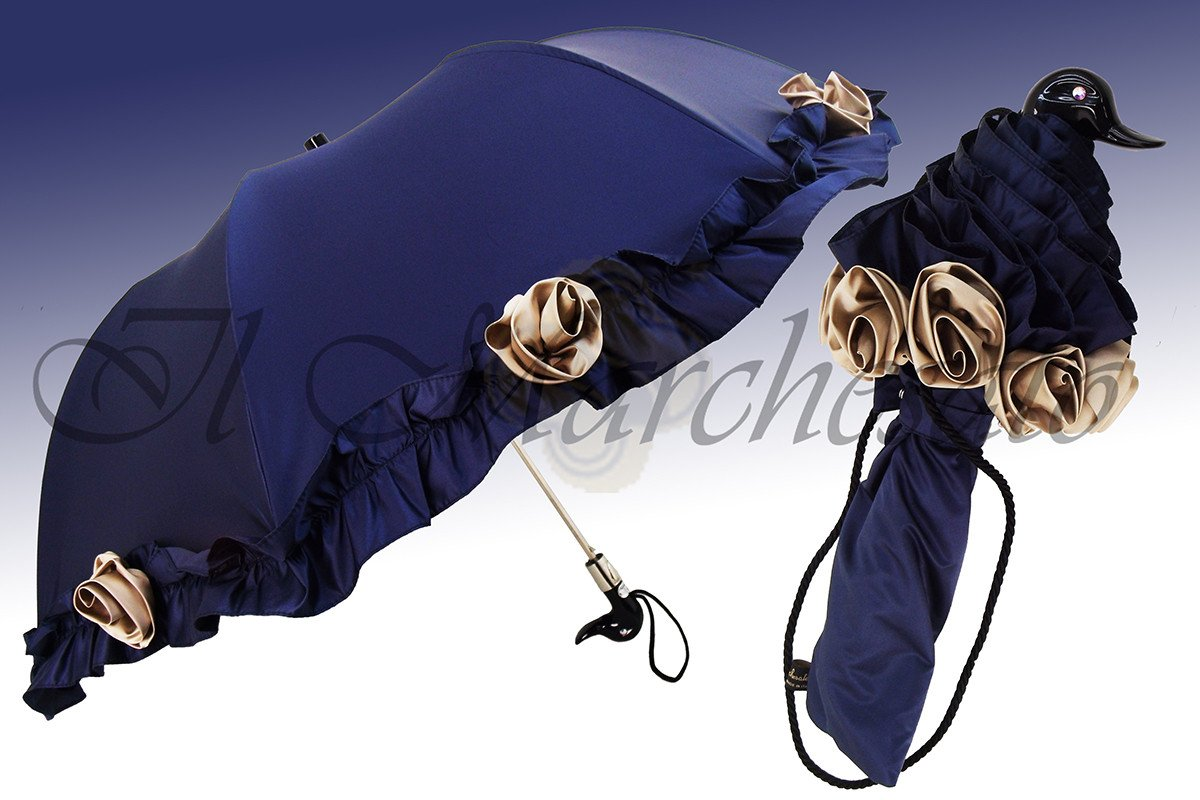 Blue Ruffled Folding Umbrella impreziosito da rose - il-marchesato