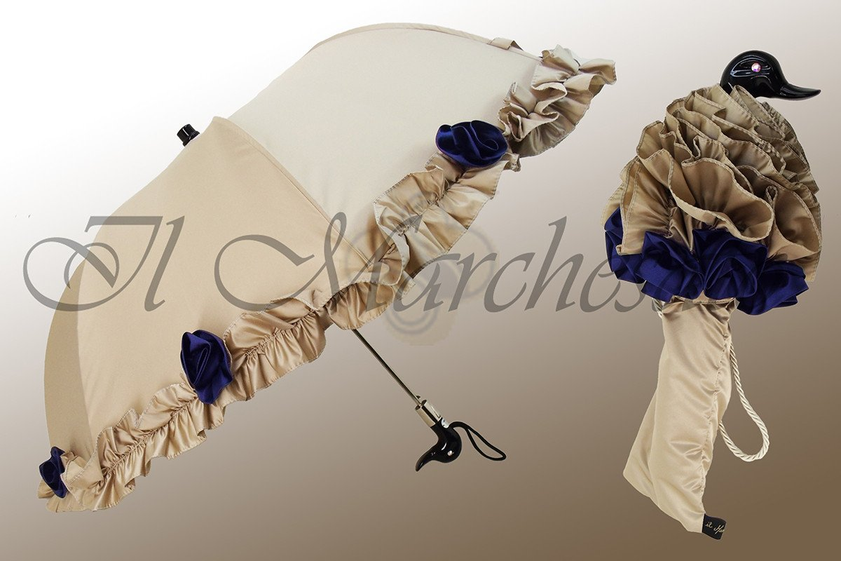 Amazing Frilly Cream Folding Umbrella Parasol - il-marchesato
