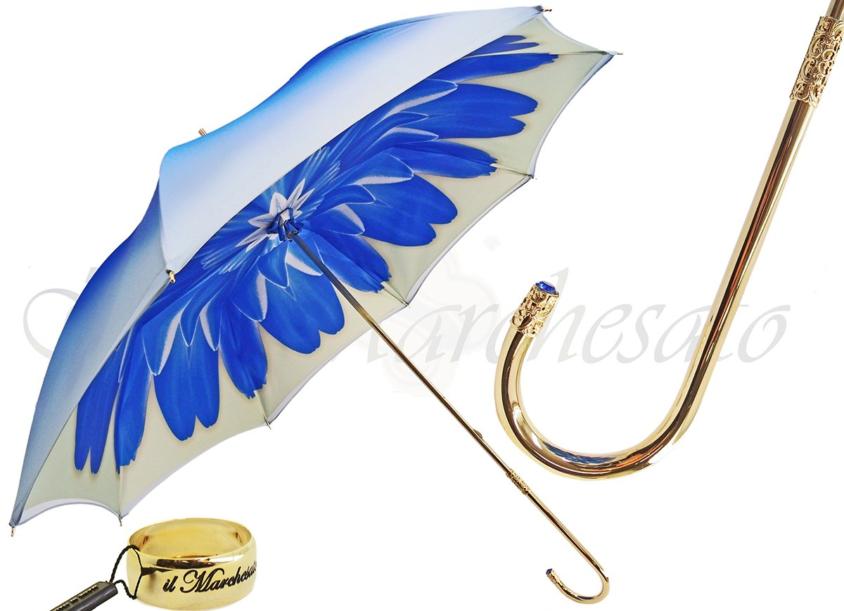 Blue Dahlia - Double Canopy - Luxury Ladies Umbrella - il-marchesato