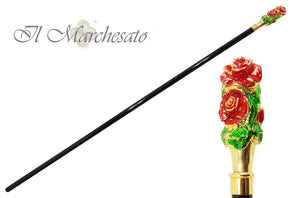 Hand-Enamelled on 24k Gold - Rose Mylord handle - il-marchesato
