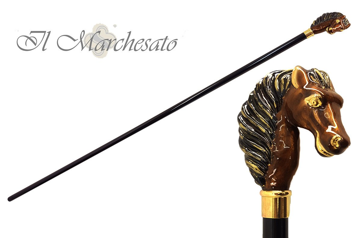 Beautifull Enamelled Horse - Walking Cane - il-marchesato