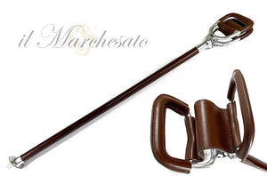 Seat Walking Stick - finished with genuine leather - IL MARCHESATO LUXURY UMBRELLAS, CANES AND SHOEHORNS