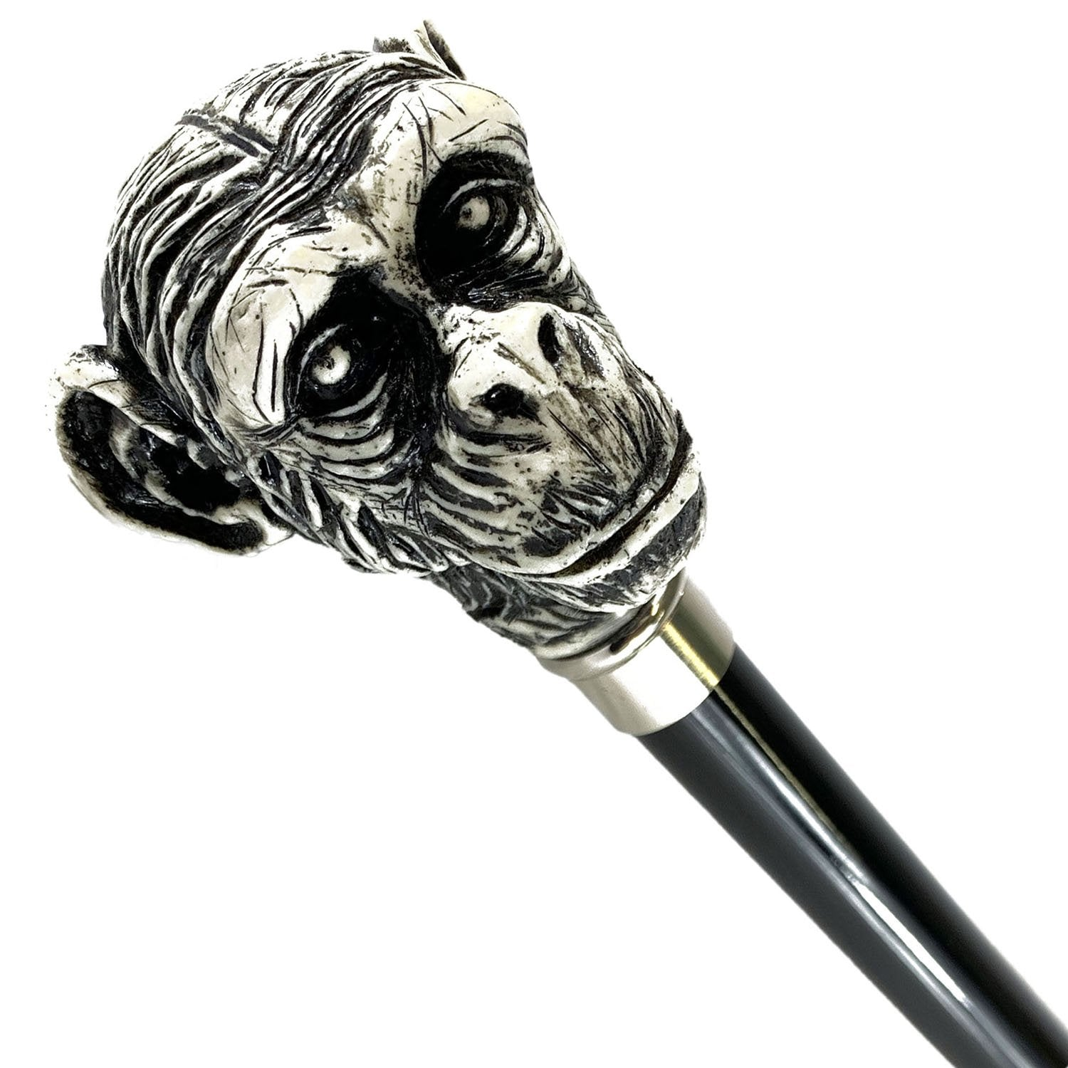 Walking Stick Monkey Lacquered in an Ivory Color - IL MARCHESATO LUXURY UMBRELLAS, CANES AND SHOEHORNS