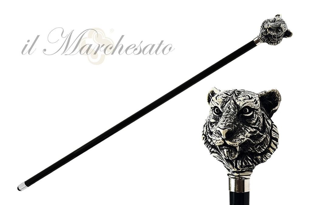 Unique Walking cane with hand-painted tiger - IL MARCHESATO LUXURY UMBRELLAS, CANES AND SHOEHORNS