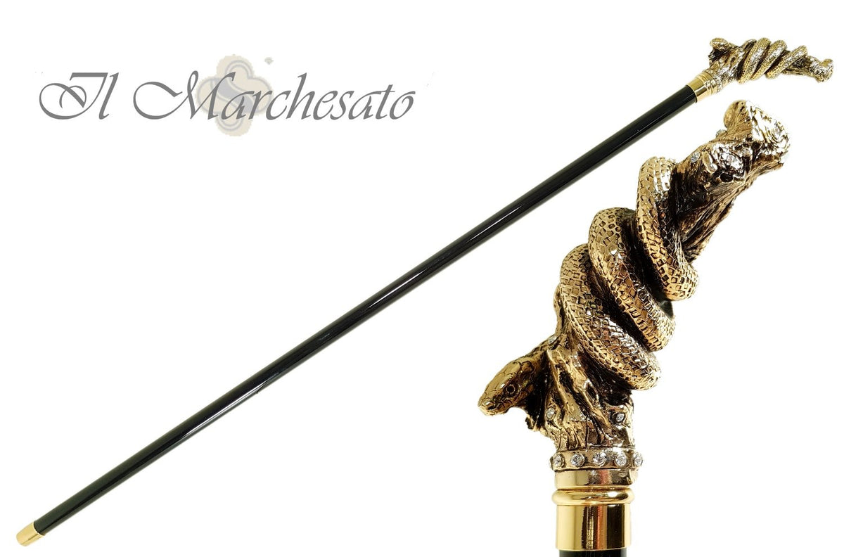 Fantastic Gold Plated Snake Embellished With Crystals - Walking Cane - il-marchesato