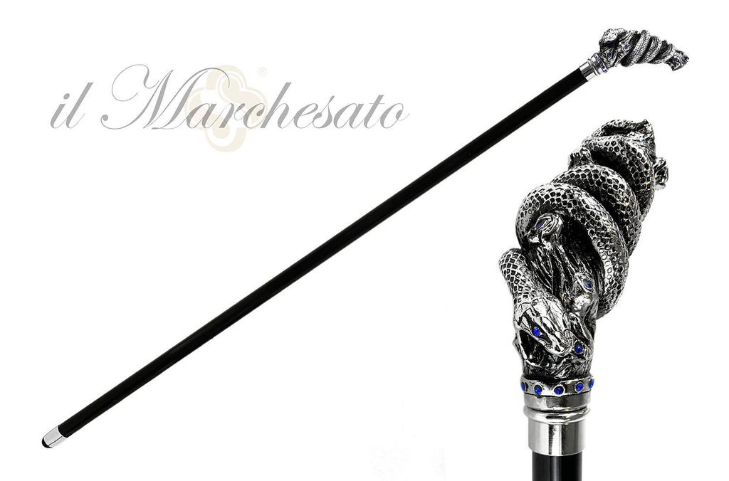 Fantastic silver-plated handle - Snake on branch and sapphire crystals - IL MARCHESATO LUXURY UMBRELLAS, CANES AND SHOEHORNS