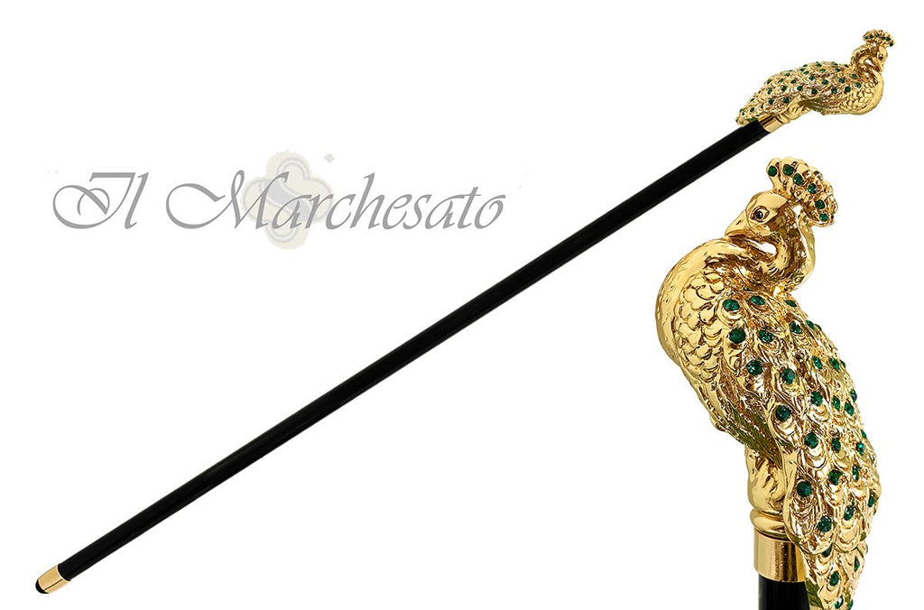 Luxury Peacock with Emerald Swarovski elements - il-marchesato