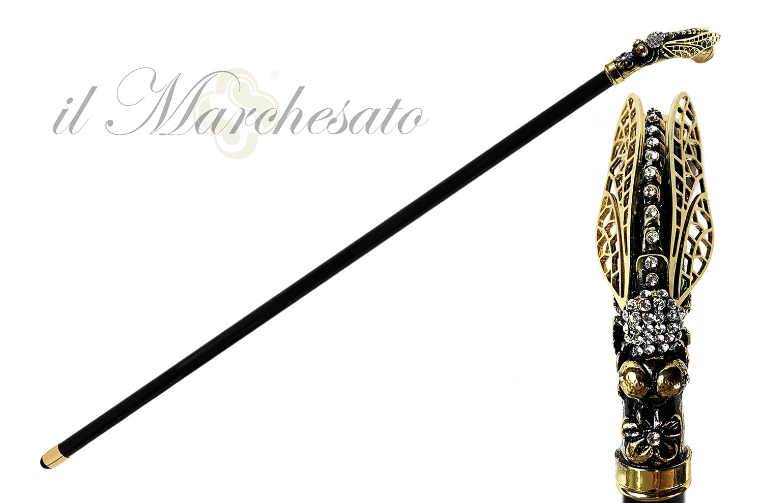 Luxury Dragonfly Goldplated with Crystals - IL MARCHESATO LUXURY UMBRELLAS, CANES AND SHOEHORNS