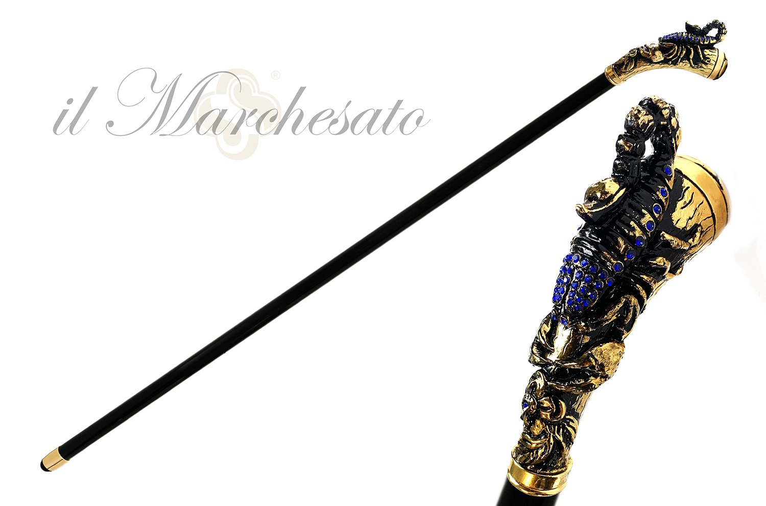 Original Scorpion Handle with Sapphire crystals - IL MARCHESATO LUXURY UMBRELLAS, CANES AND SHOEHORNS