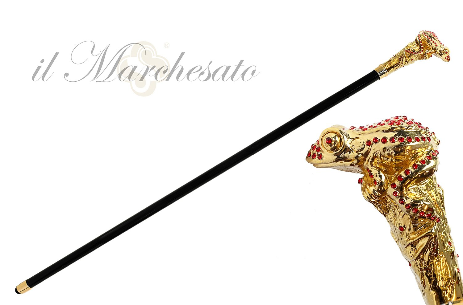 Luxury Walking stick - Frog Encrusted with Siam Cristals