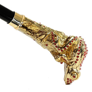 Luxury Walking stick - Frog Encrusted with Siam Cristals - IL MARCHESATO LUXURY UMBRELLAS, CANES AND SHOEHORNS